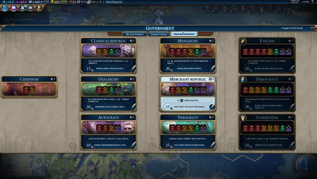 The nine governments available in Civ VI include everything from oligarchies to theocracies and communist states.