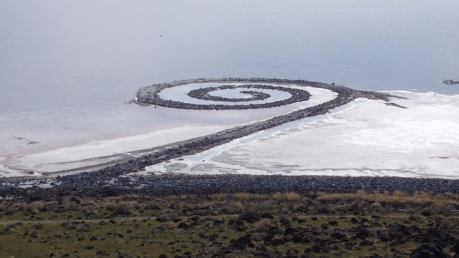 There's no shrine in the middle of 'Spiral Jetty,' but it's still pretty awesome.