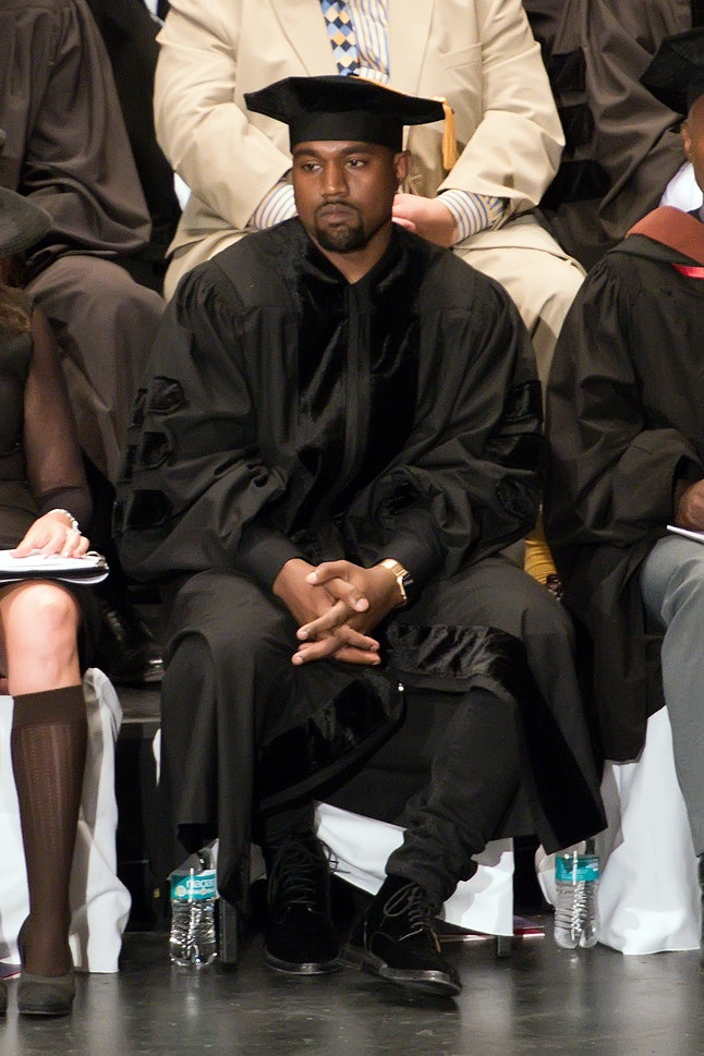 Kanye West at his honorary doctorate degree graduation ceremony at the School of the Art Institute of Chicago in May 2015.
