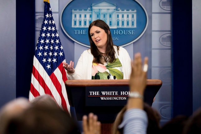 White House deputy press secretary Sarah Huckabee Sanders fills in for Sean Spicer on June 5.