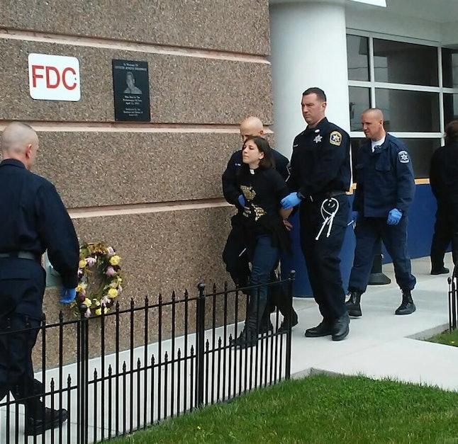 Rev. Annie Gonzalez Milliken arrested outside South Bay Detention Facility in Boston.