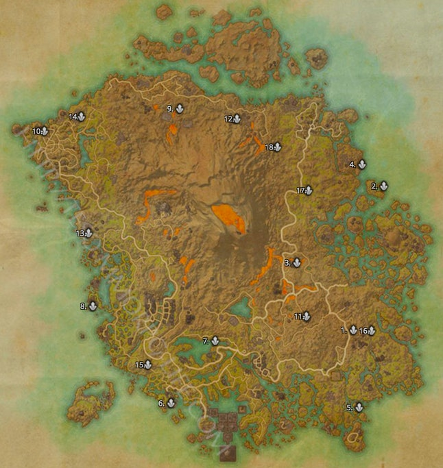 Screenshot of interactive map from 'TESO Life'