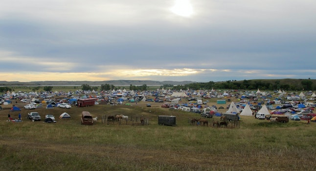 Over a thousand people gather at an encampment on the Standing Rock Sioux tribe reservation in September.