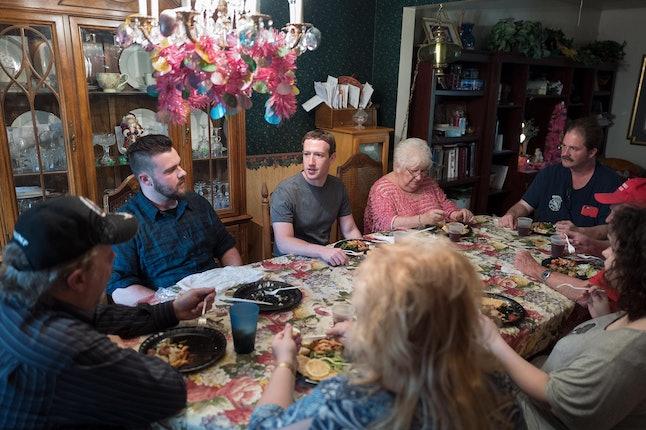 Mark Zuckerberg at dinner at Dan Moore's house in Ohio.