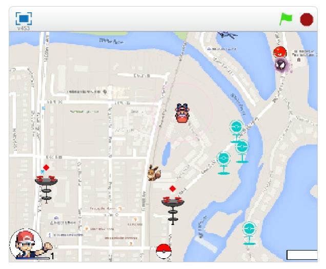 The map screen in 'Pokémon Go' Scratch