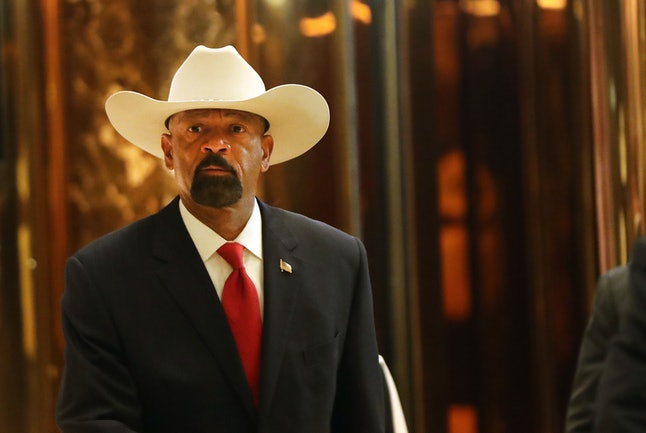 Milwaukee County Sheriff David Clarke leaves Trump Tower on Nov. 28 in New York City.