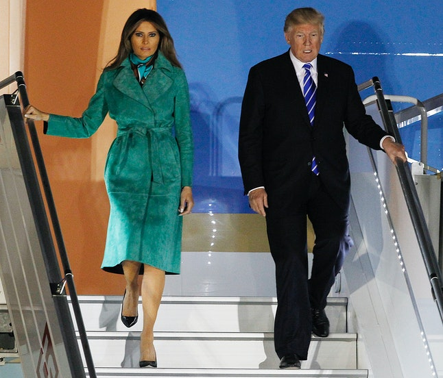 Melania Trump and her husband arriving in Poland