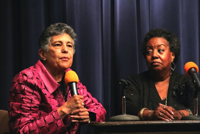 Edith Lee-Payne with Carlotta LaNier, one of the Little Rock Nine students who protested segregation in their Arkansas high school, leading to the historic Brown v. Board of Education Supreme Court decision. They spoke at schools around the country for the National Alliance of Faith and Justice after the killing of Michael Brown in Ferguson, Missouri.