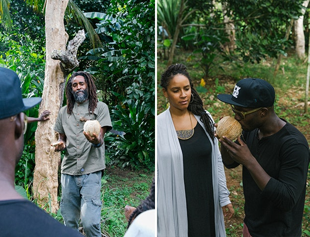Christopher presents guests with fresh coconut water.