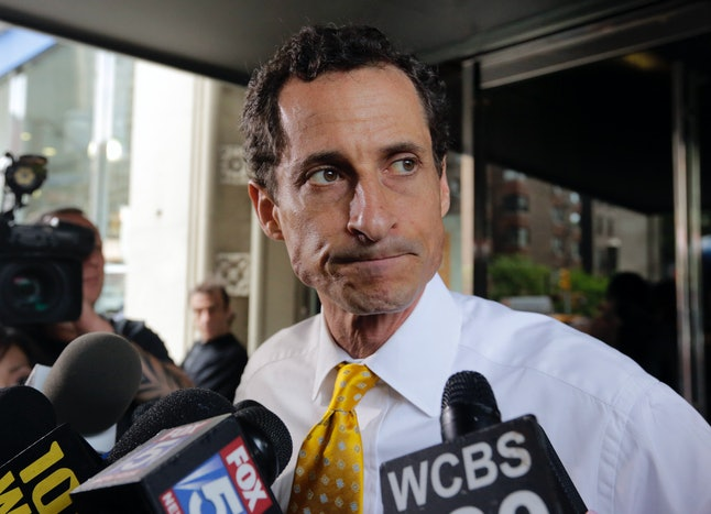 Anthony Weiner photographed speaking to the press.