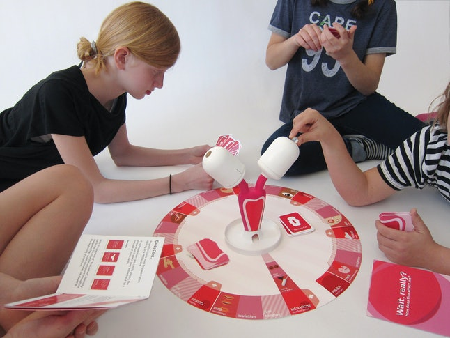 Girls test out gameplay for the Period Game.