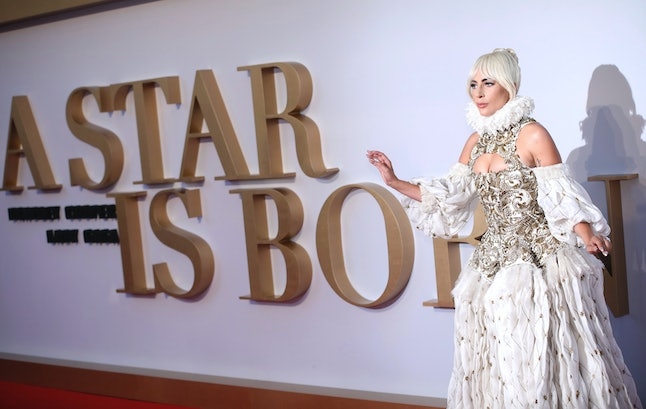 Lady Gaga poses for photographers upon arrival at the premiere of the film 'A Star Is Born' in London, Thursday, Sept. 27.