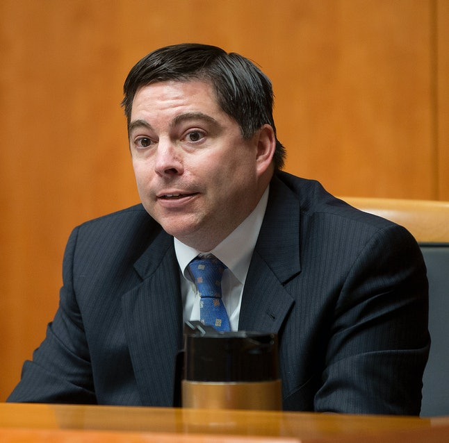 FCC Commissioner Mike O'Rielly at a hearing on Capitol Hill.
