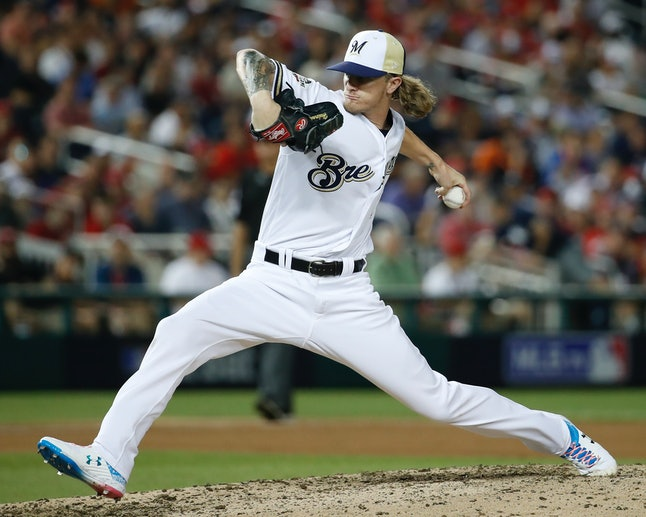 Milwaukee Brewers pitcher Josh Hader during the MLB All-Star game on Tuesday