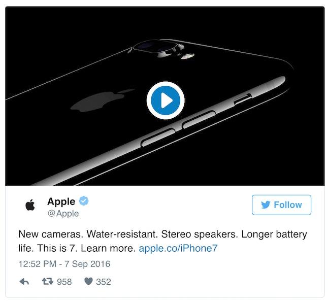Apple's deleted iPhone 7 tweet