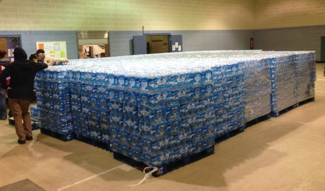 Pallets of water at the Sebring Community Center.