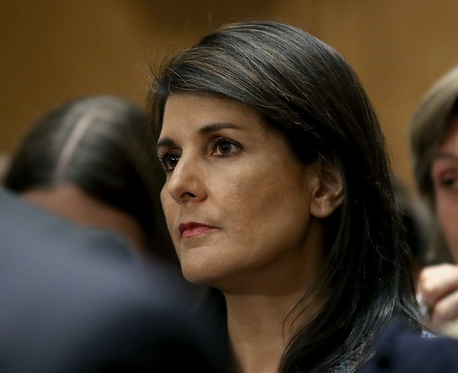 Nikki Haley attends a confirmation hearing for Mike Pompeo, Donald Trump's pick to be secretary of state, on April 12.
