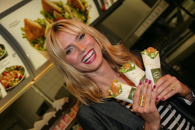 Model Heidi Klum with McDonald's Snack Wraps