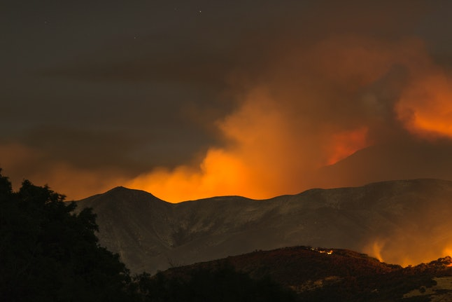 The Whittier Fire pictured on the night on July 9, near Santa Barbara, California.