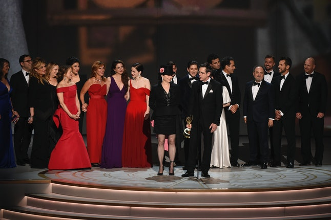 The cast and crew of 'The Marvelous Mrs. Maisel' accepts the award for outstanding comedy series at the 70th Primetime Emmy Awards on Monday, Sept. 17, at the Microsoft Theater in Los Angeles.