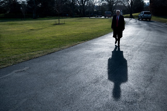 President Donald Trump walks to Marine One on the South Lawn of the White House on Thursday.