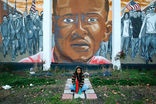 A mural of Freddie Gray in Baltimore.