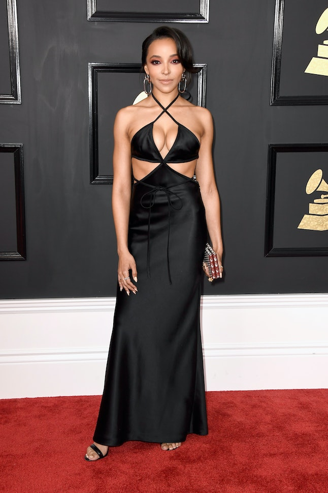 Tinashe attends the 59th annual Grammy Awards on Sunday at the Staples Center.