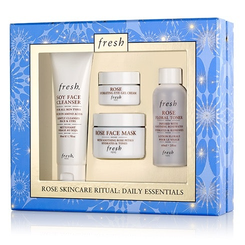 Included in set: Soy Face Cleanser, Rose Hydrating Eye Gel Cream, Rose Face Mask and Rose Floral Toner