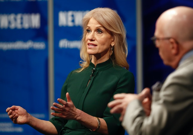 Counselor to President Donald Trump Kellyanne Conway speaks with Michael Wolff of the 'Hollywood Reporter' at the Newseum in Washington on April 12, 2017.