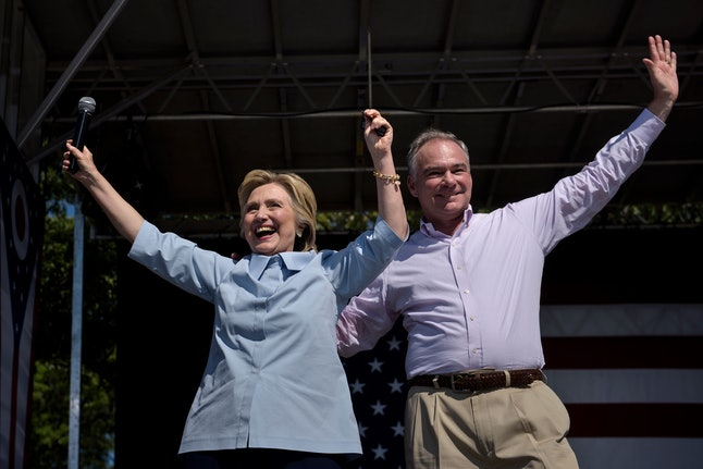 Hillary Clinton and Tim Kaine campaigning together.