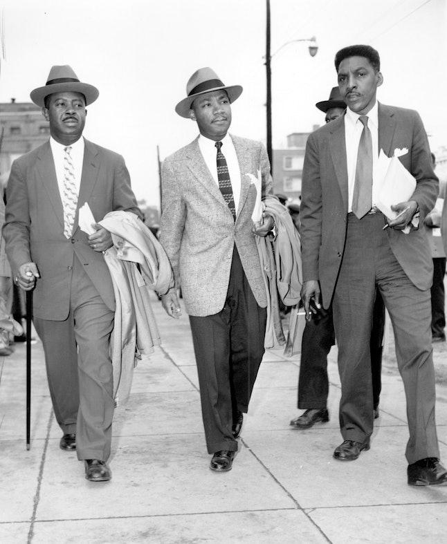 MLK, center; Rustin, right.