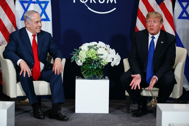 President Donald Trump speaks during a meeting with Israeli Prime Minister Benjamin Netanyahu at the World Economic Forum on Jan. 25 in Davos, Switzerland.