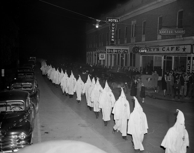A 1948 photo of a Klan march in Georgia