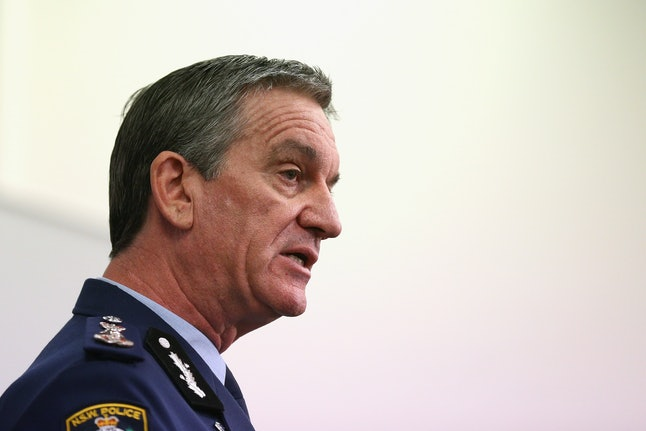 New South Wales police commissioner Andrew Scipione speaks to the press.
