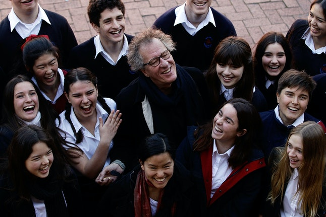 Students at Newtown High School for Performing Arts when 2012 Australian of the Year, Geoffrey Rush, visited.