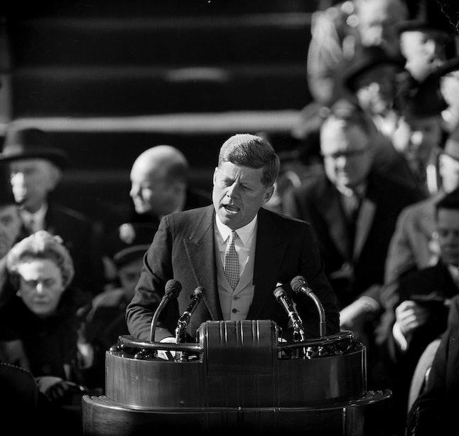 John F. Kennedy speaks at his inauguration on Jan. 20, 1961.