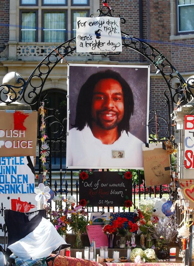 A memorial for Philando Castile is seen in Minnesota.