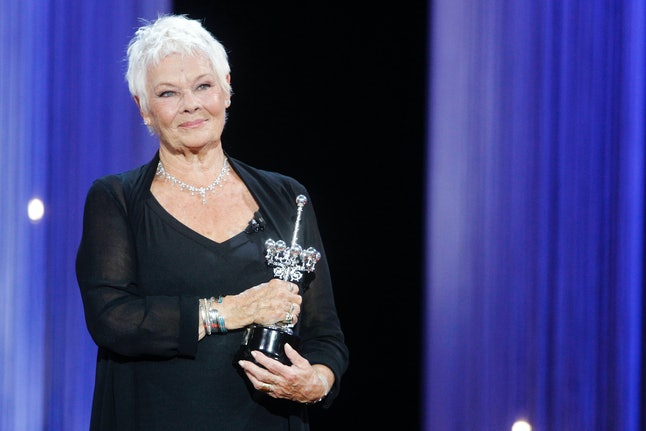Judi Dench receives the Donostia Award during the 66th San Sebastian International Film Festival in San Sebastian, Spain, on Sept. 25.