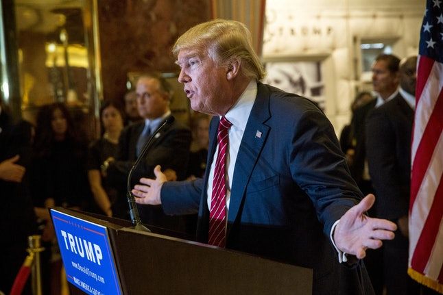 Donald Trump holds a press conference to discuss his tax proposals at Trump Tower in September 2015.