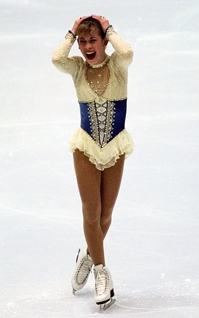 Tara Lipinski after her short program at the 1998 Olympics in Nagano, Japan