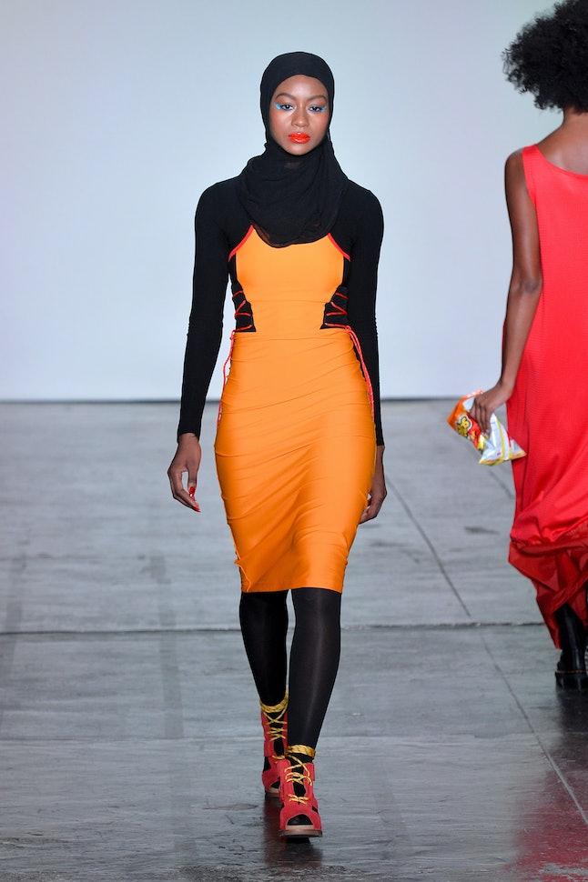 A model walking for Chromat at New York Fashion Week