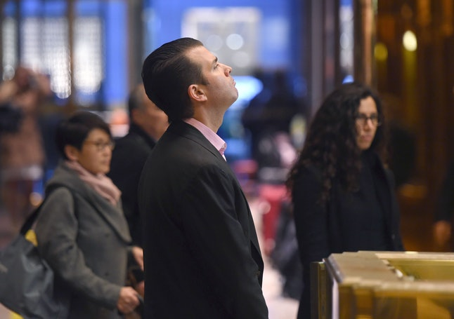 Donald Trump Jr. arrives at Trump Tower for meetings with his father in November 2016.