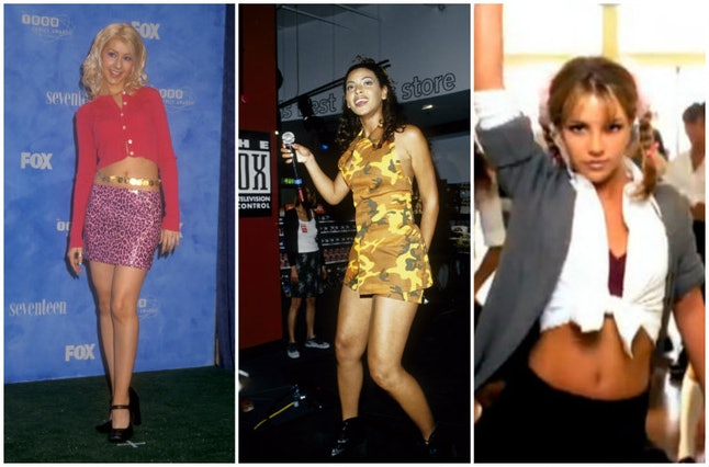 Christina Aguilera in 1999, Beyoncé Knowles in 1998 and Britney Spears' in a 1998 music video
