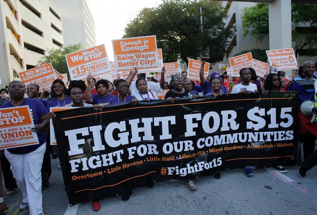 The Fight For 15 organization marching on April 16, 2015, in Miami, Florida.