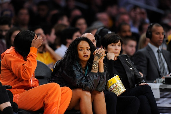 Rihanna at a Cleveland Cavaliers game against the Los Angeles Lakers in 2015 at the Staples Center in Los Angeles, California