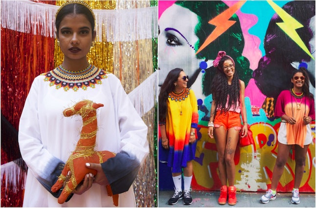 Left: An image from a Norblack Norwhite look book that features a necklace from Santa Isla. Right: An image from Santa Isla's Instagram account featuring the founders of Norblack Norwhite and one-half of the musical group Chargaux.