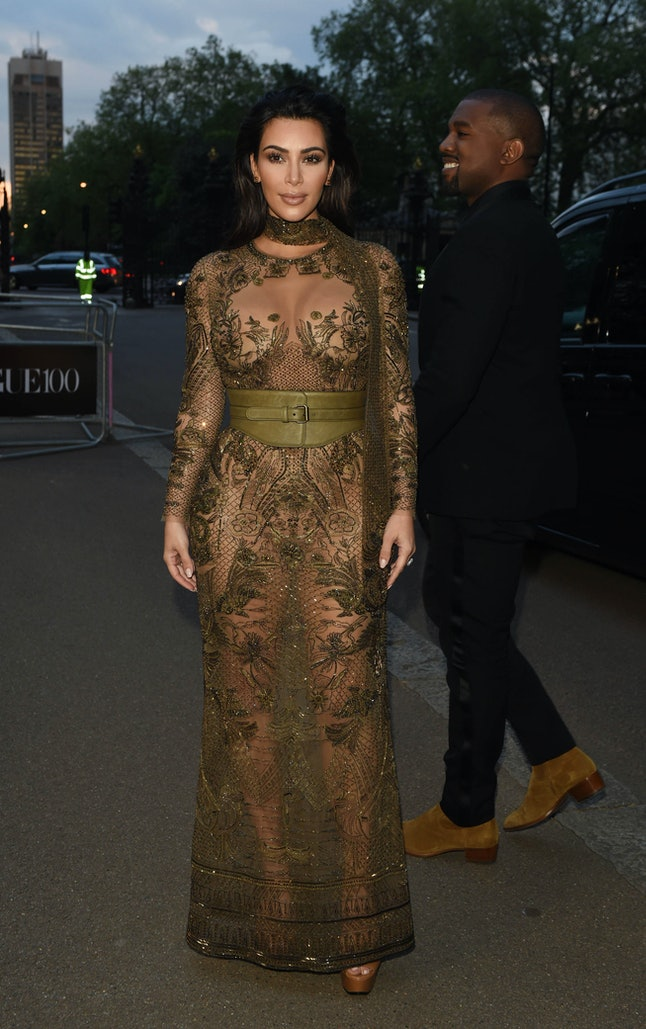 Kim Kardashian West attends the Vogue 100 Gala Dinner in May, approximately five months after giving birth to Saint West.