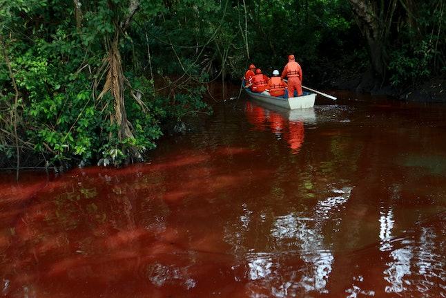 Gasoline spill on the Hondo river.