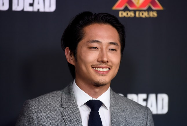 Actor Steven Yeun attends the season 5 premiere of 'The Walking Dead' at AMC Universal City Walk on October 2, 2014 in Universal City, California.