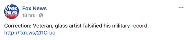 Fox News' correction on its Facebook page